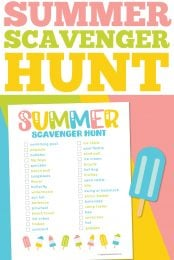 Summer is in full swing! This free printable summer scavenger hunt is perfect for keeping the kids busy during the long lazy days of summer!