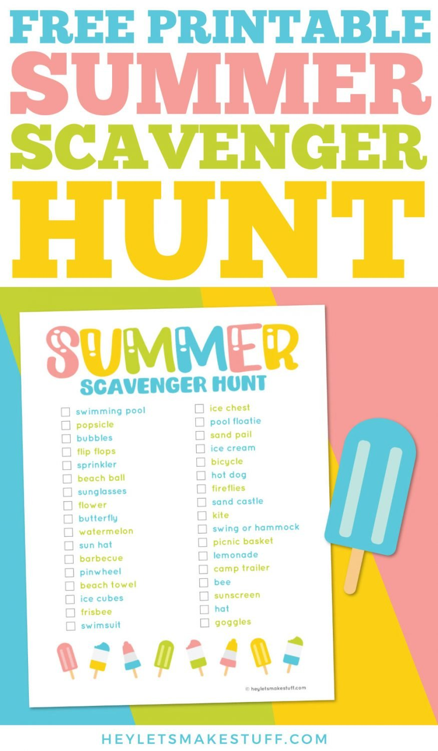 Free printable summer scavenger hunt pin image