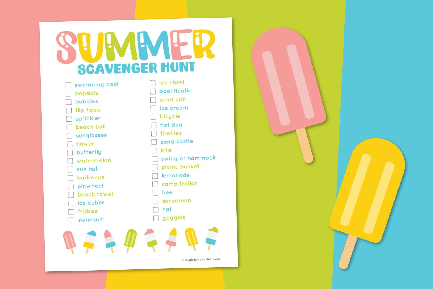 Summer scavenger hunt on a rainbow background