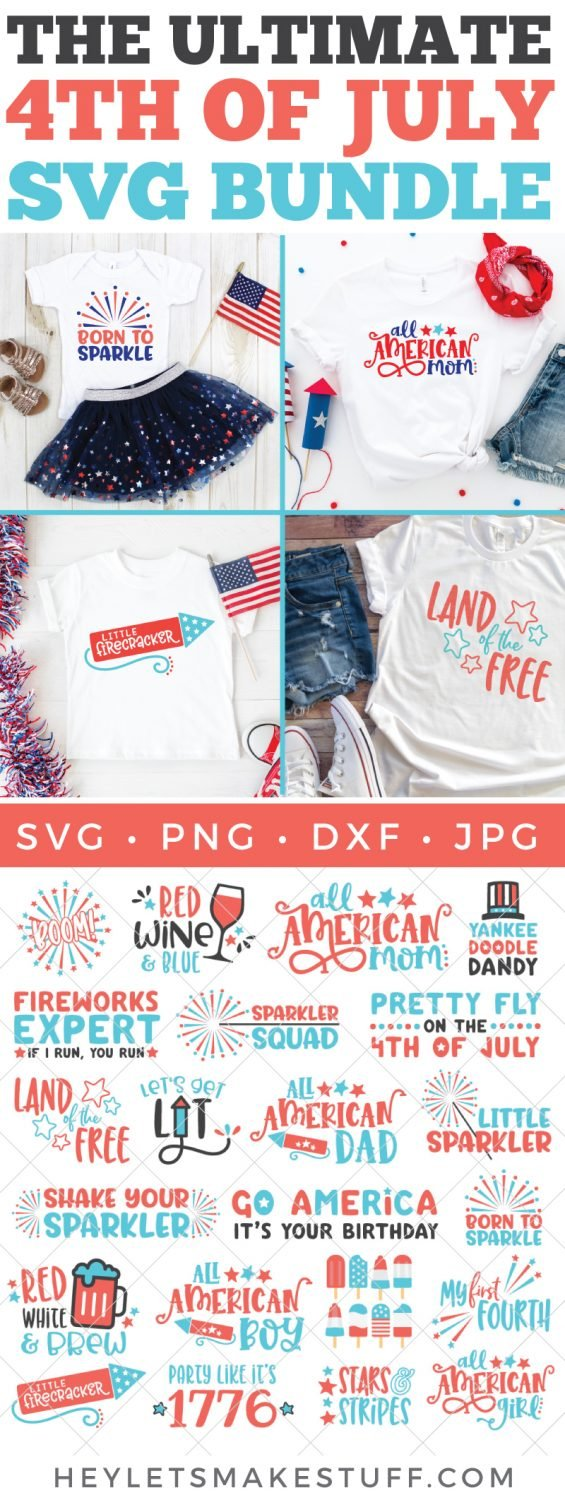 The Ultimate 4th of July SVG Bundle pin image.