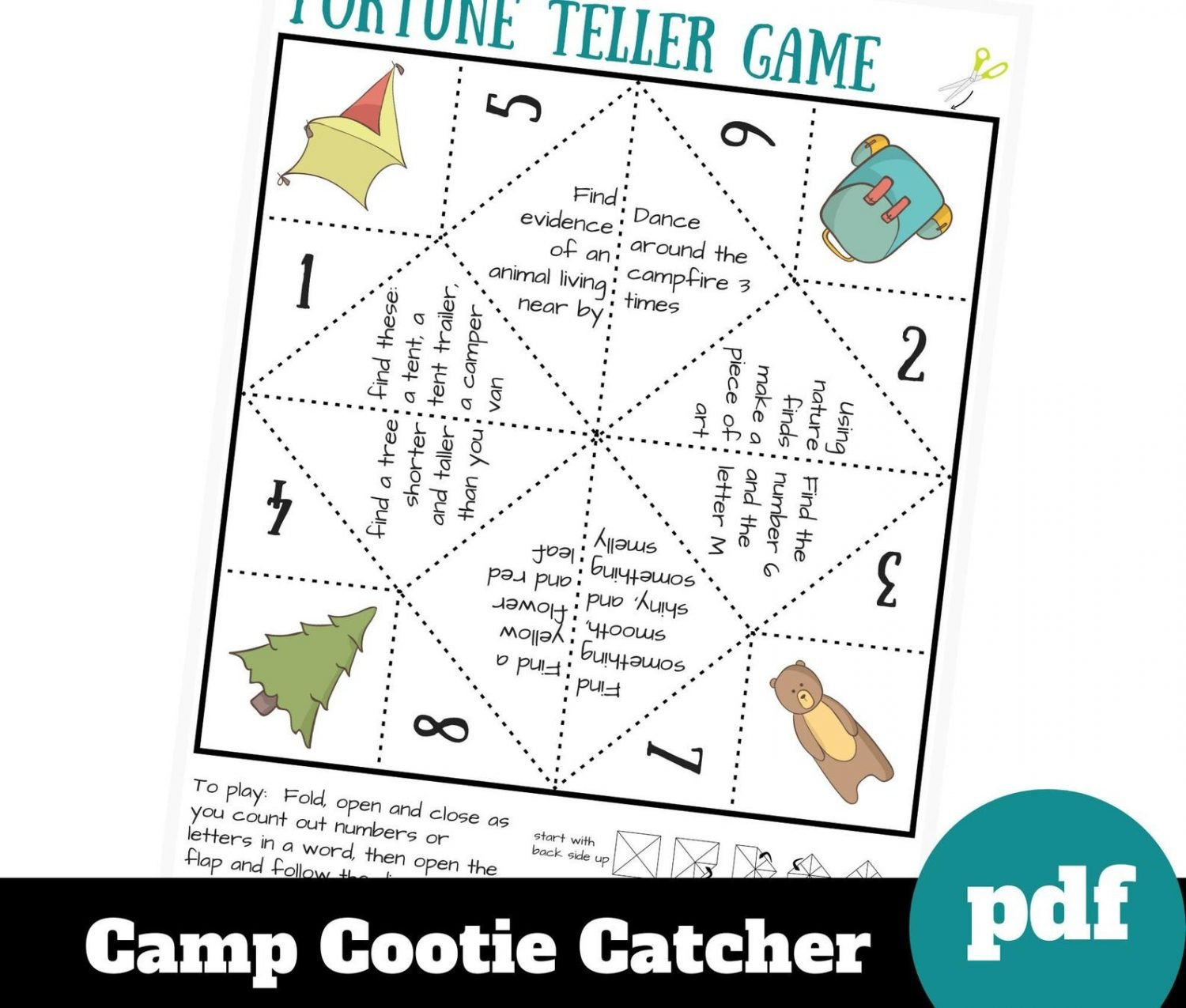 cootie catcher summer game