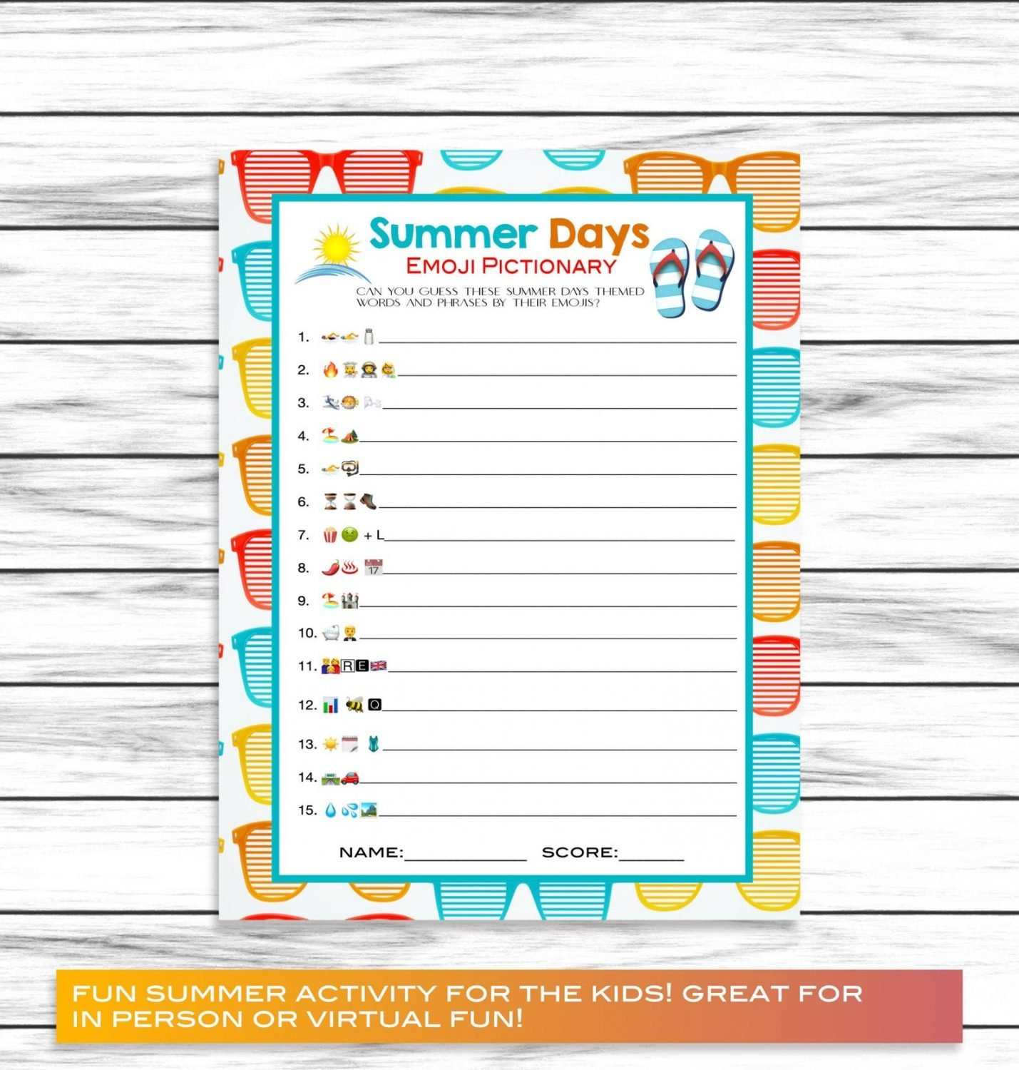 printable summer emoji game