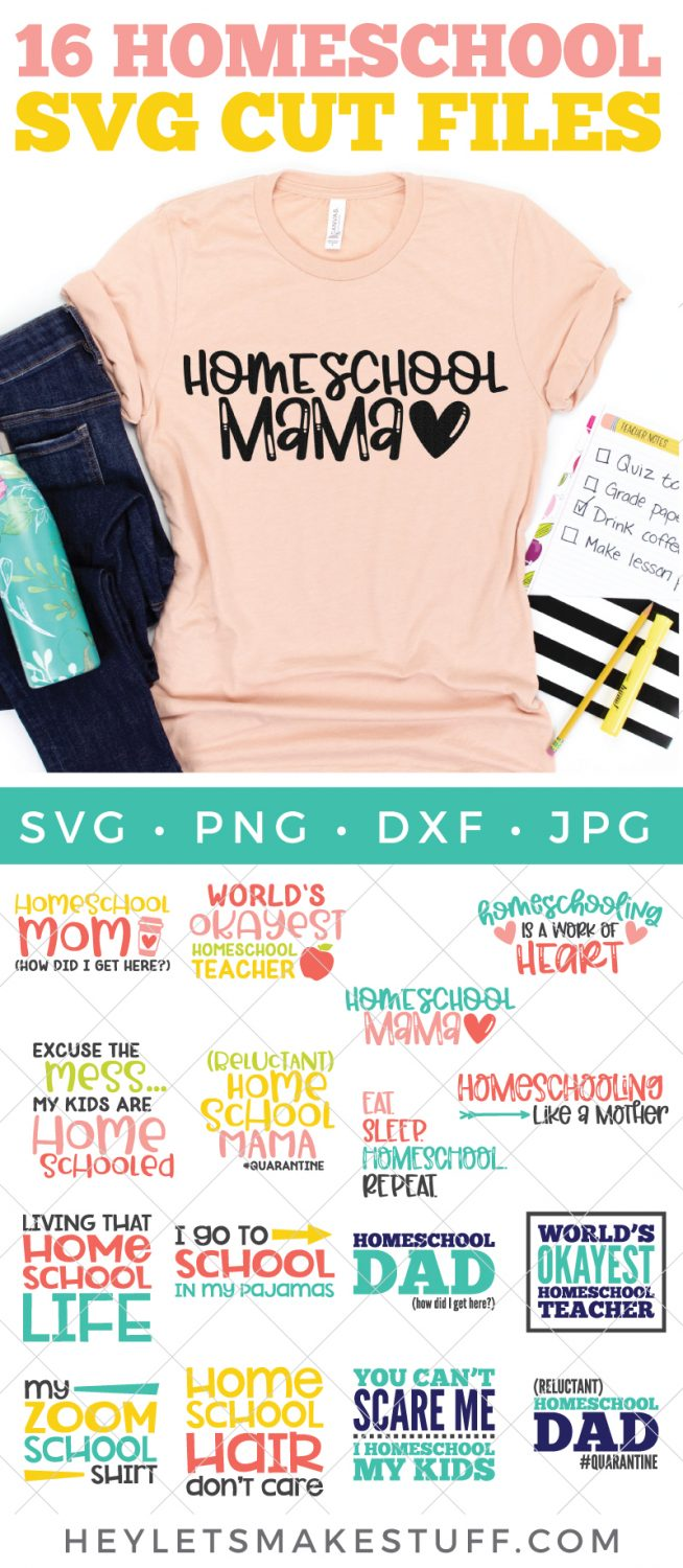 homeschool SVG files with mockup on shirt