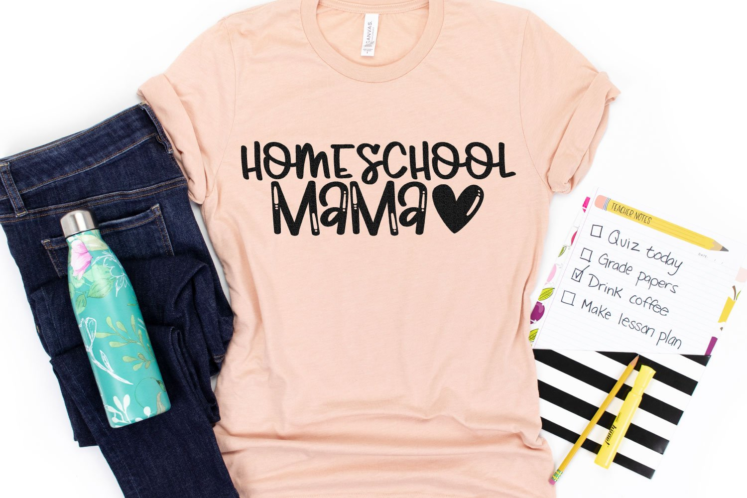homeschool mama SVG file on shirt
