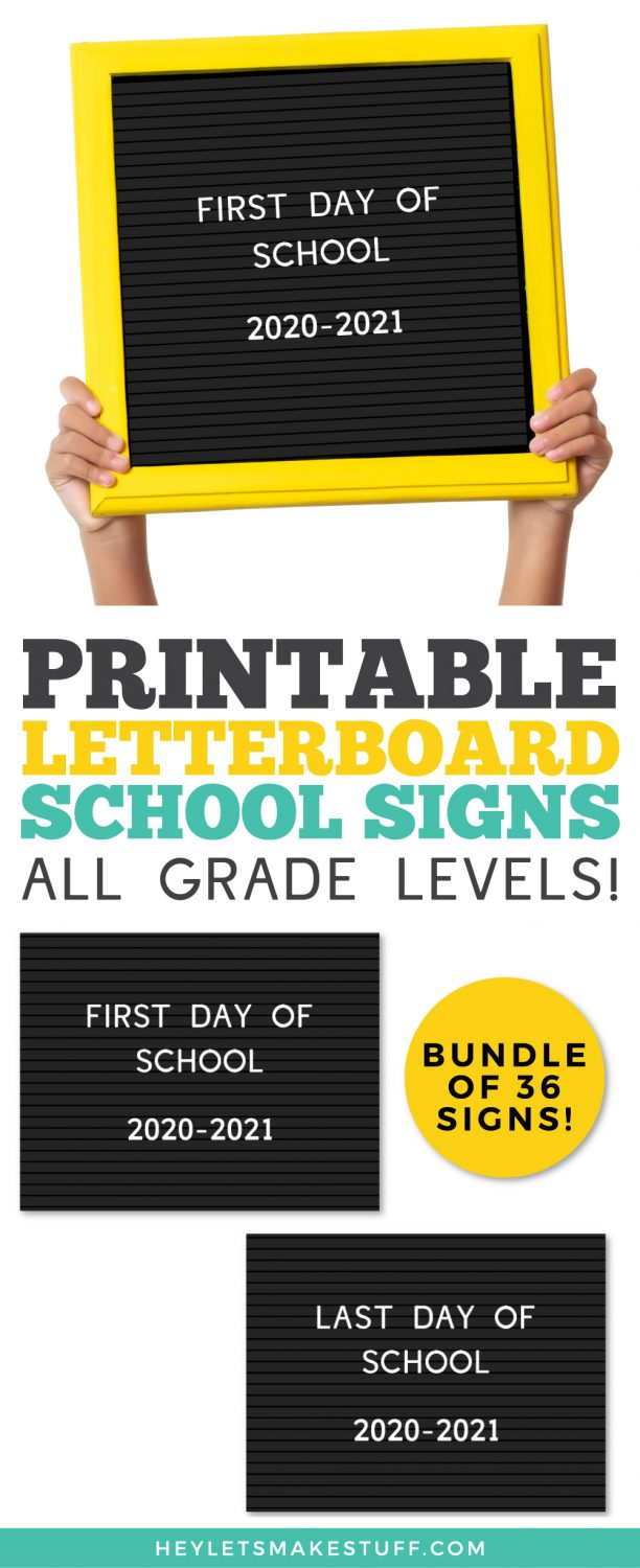 Printable letterboard school signs pin image