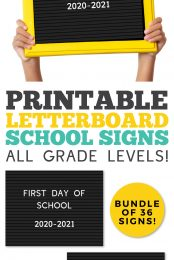 These adorable set of 36 printable letterboard signs is perfect for the first and last day of school! Print one out to document your child's very first day of preschool through high school graduation!
