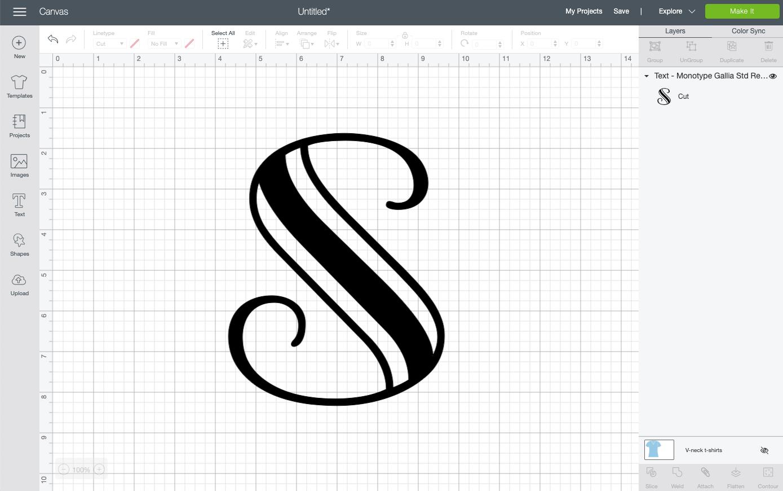 "Large ""S"" in Cricut Design Space."