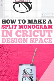 A split monogram is a classic way to personalize just about anything, from totes to tees to tumblers! This tutorial shows you how to create a split monogram in Cricut Design Space with any font—it's easy!