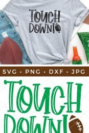 Gray shirt with touchdown SVG pin image