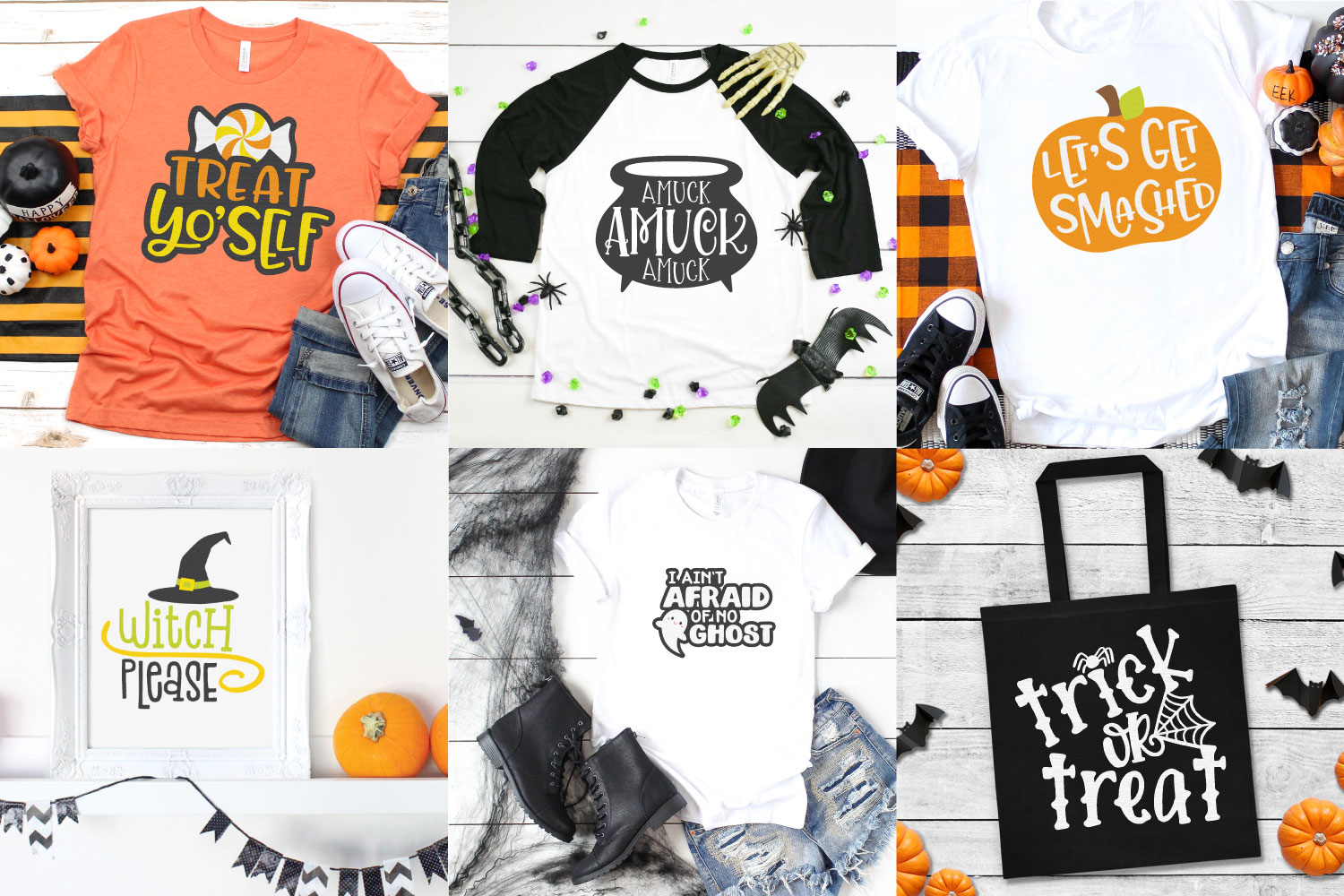 Collage of Halloween projects made with Halloween SVG files in this bundle