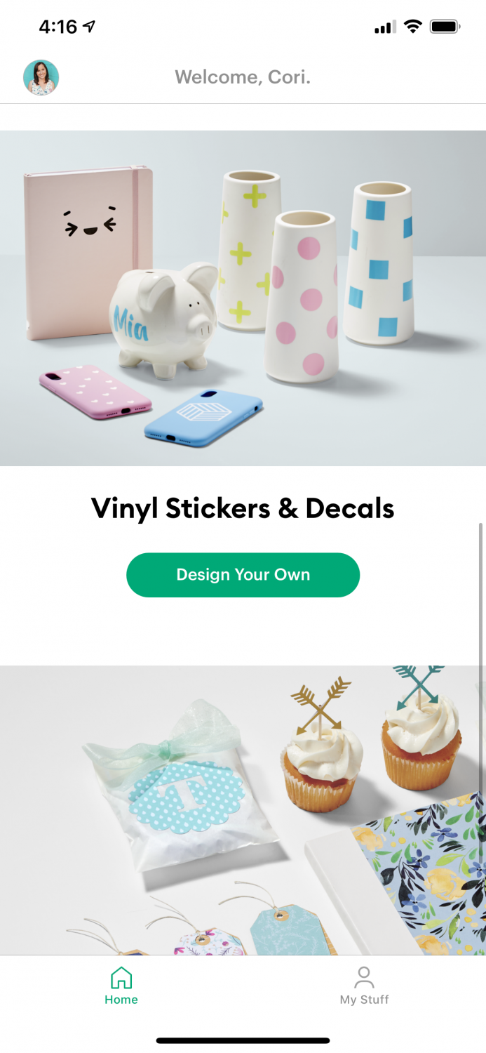 Cricut Joy app home screen with project options.