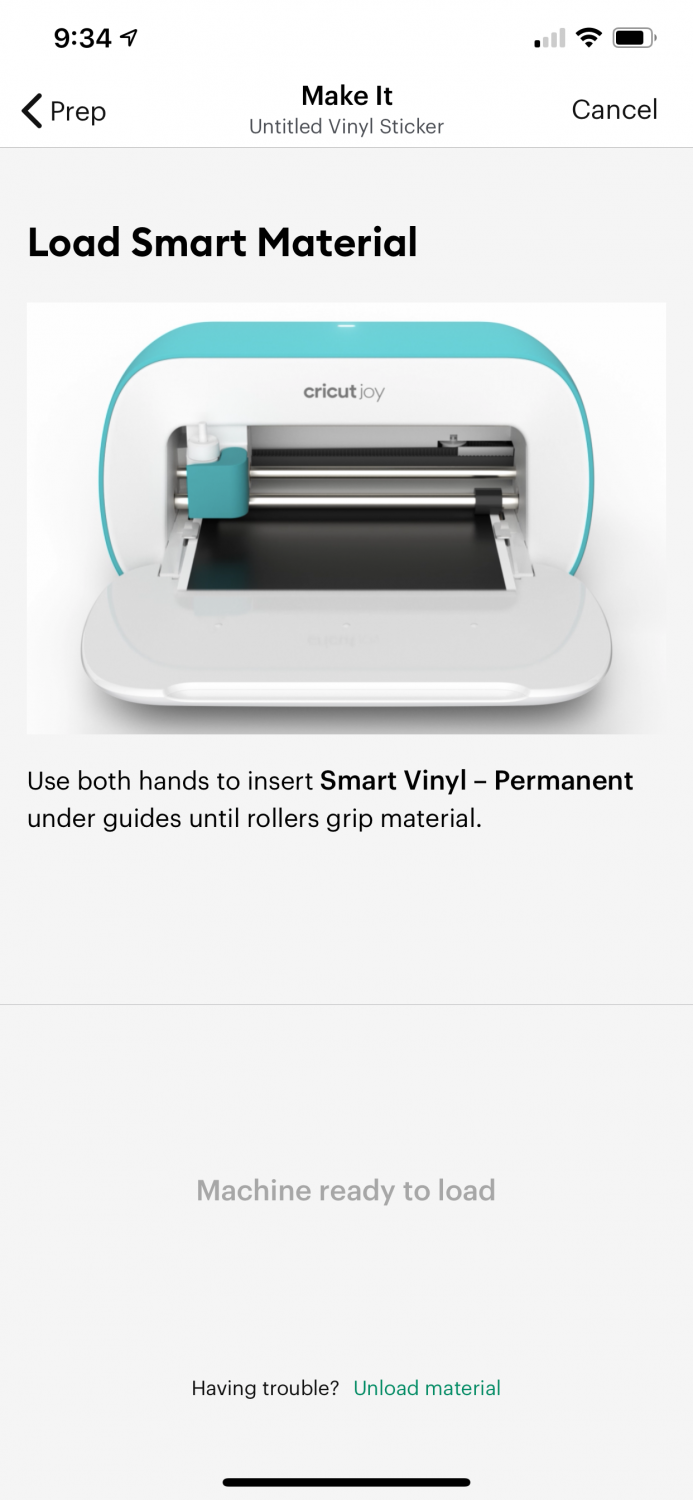 On-screen instructions to load the Smart Material in the app.