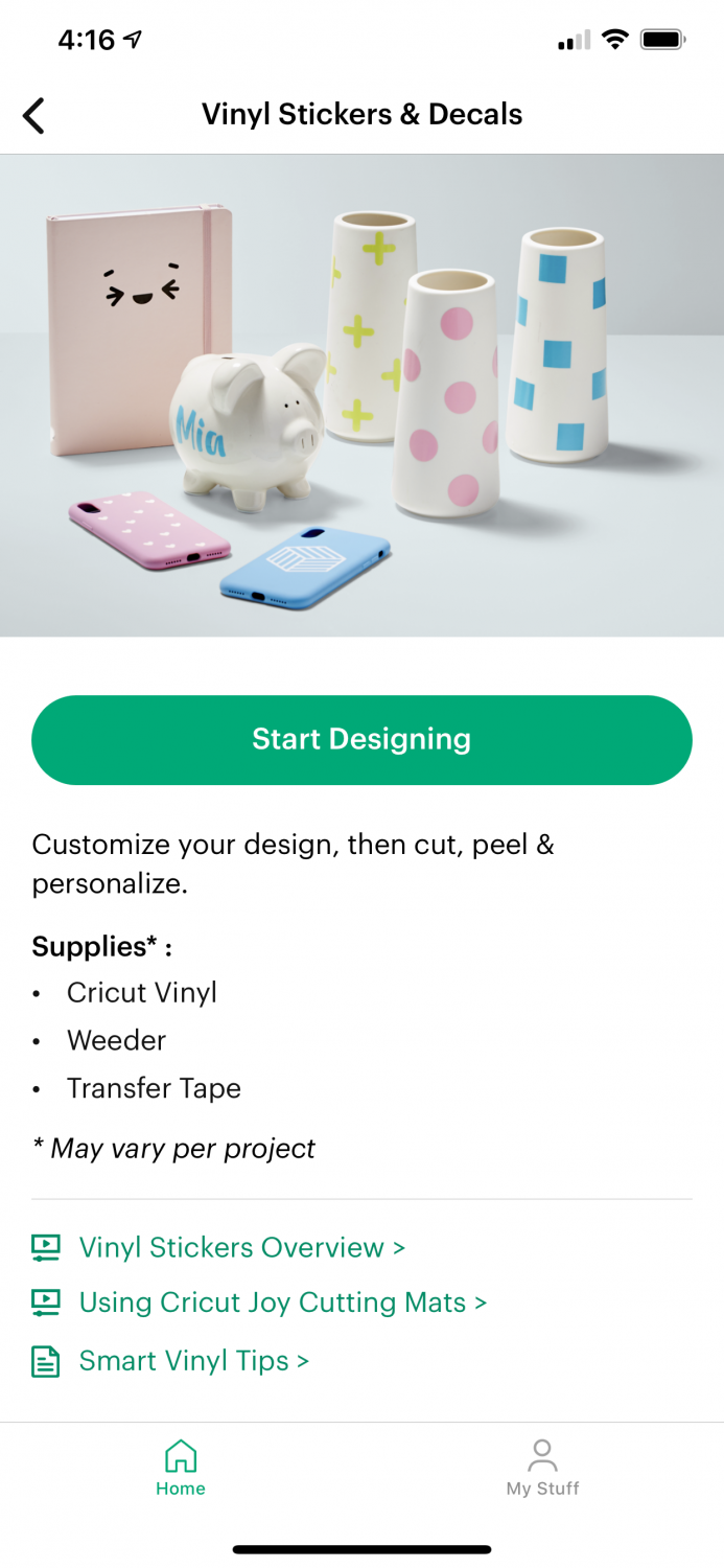 "Vinyl Stickers & Decals ""start"" screen with links to tutorials."