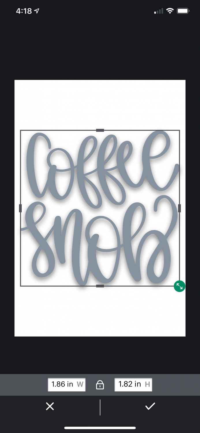 """Coffee Snob"" image inserted into the Cricut Joy app canvas."