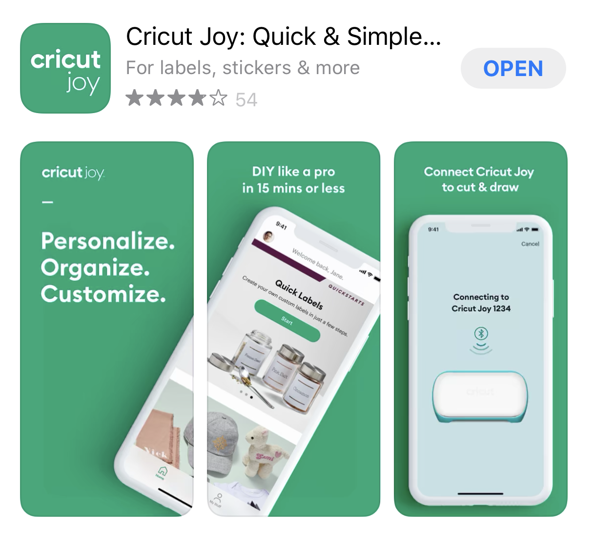 Cricut Joy app in the iOS app store.