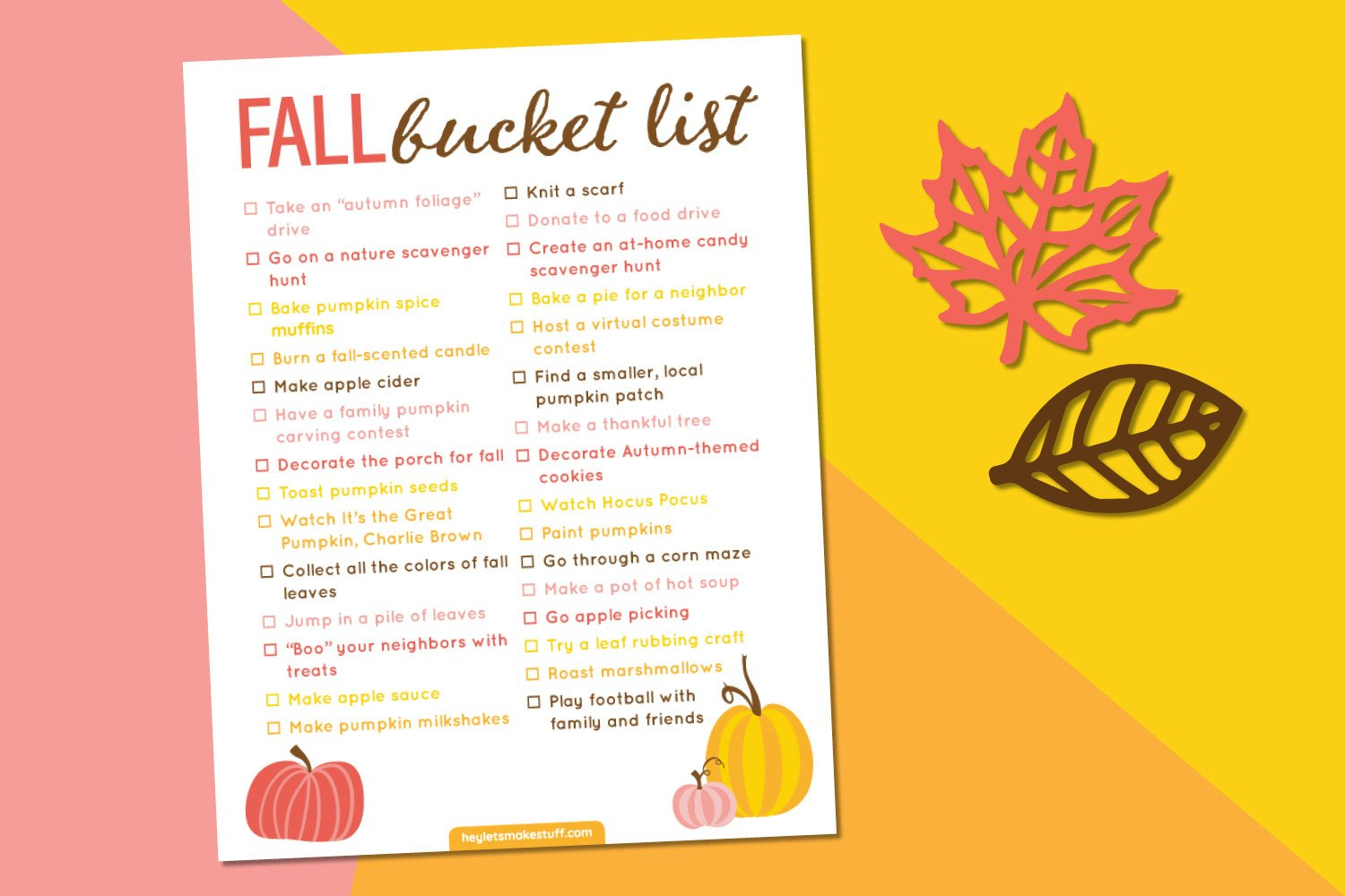 Fall bucket list printable on pink, orange, and yellow background