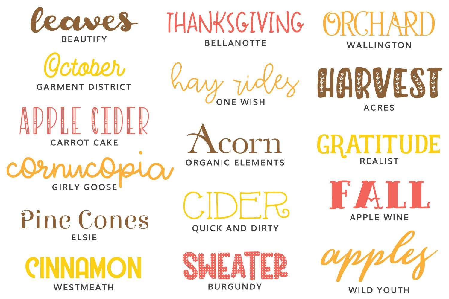 Image of the fall fonts featured in this post.
