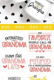 grandparents SVG files and mockup on mugs