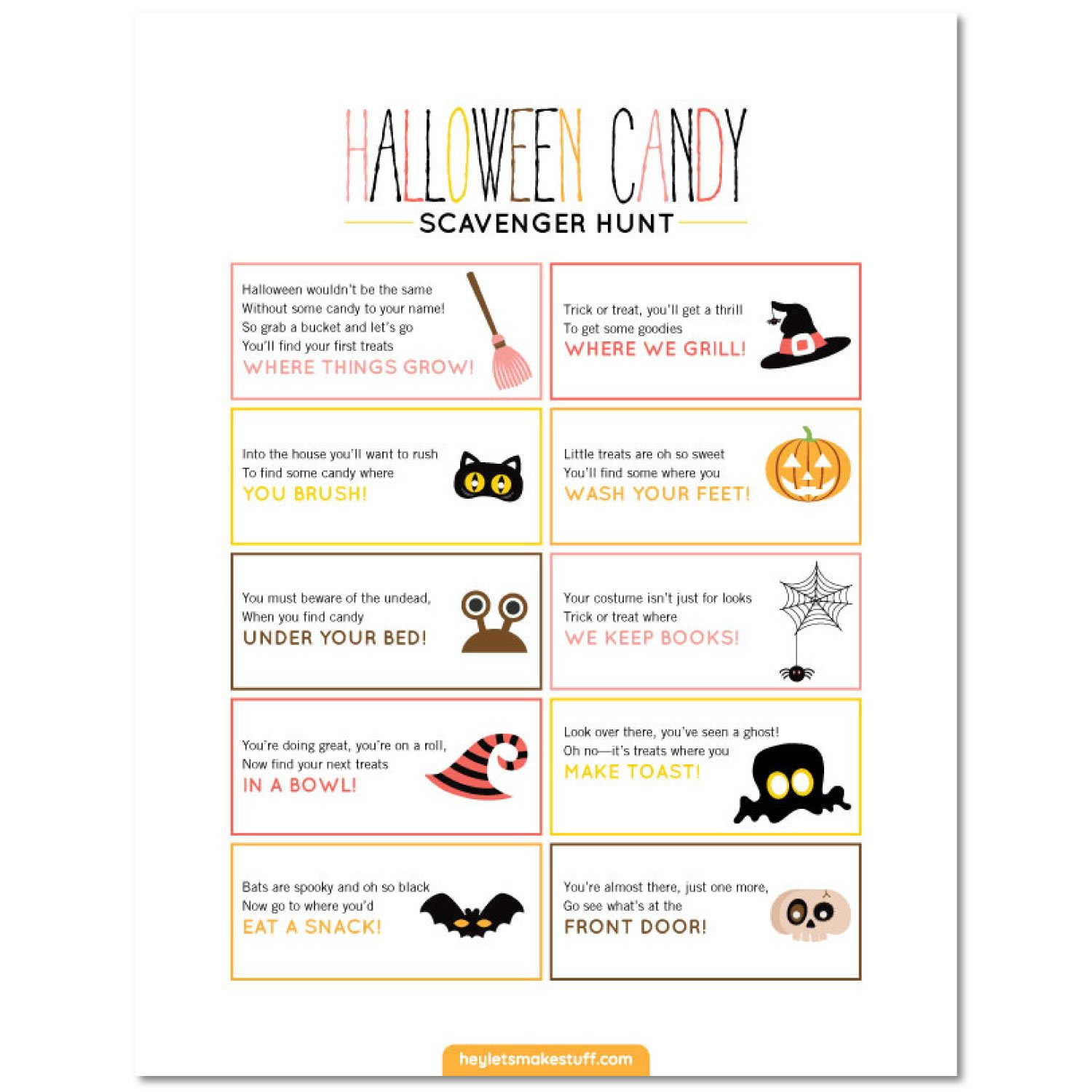 Halloween Scavenger Hunt clues