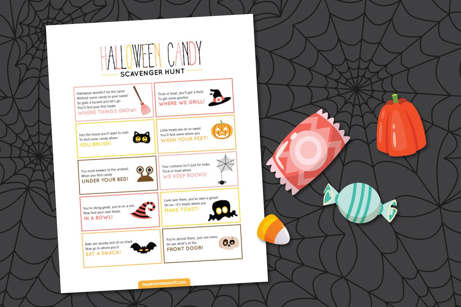 Halloween Candy Scavenger Hunt on a spider web background with candy