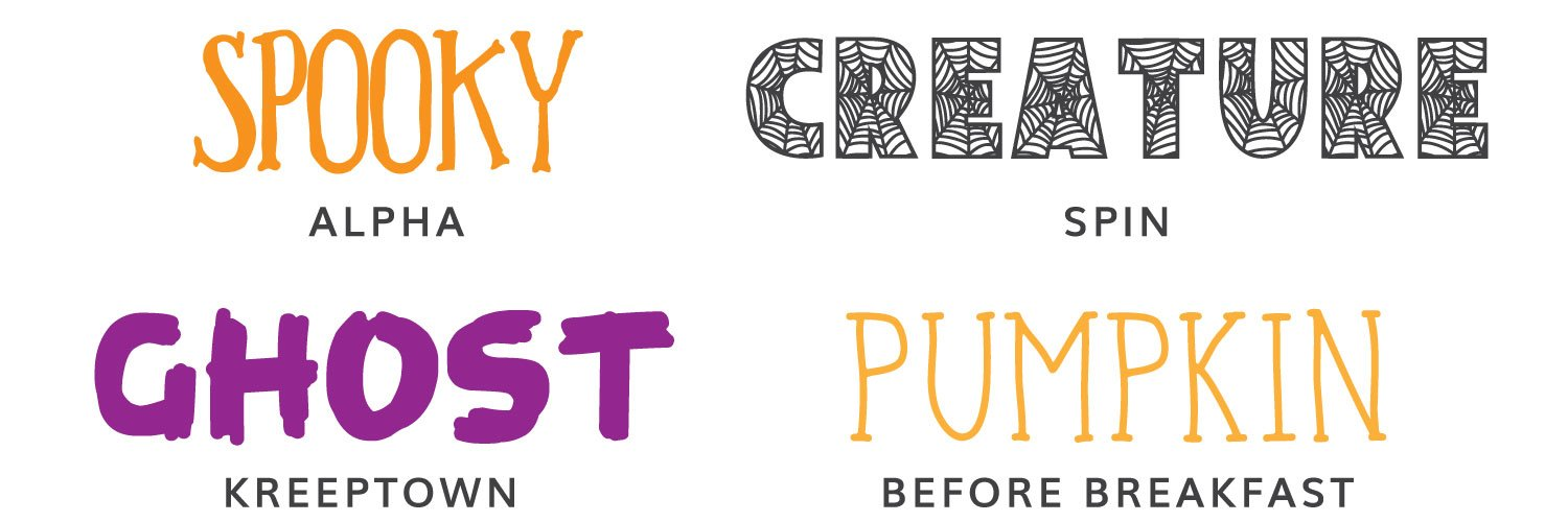 First four Halloween fonts: Alpha, Spin, Kreeptown, Before Breakfast