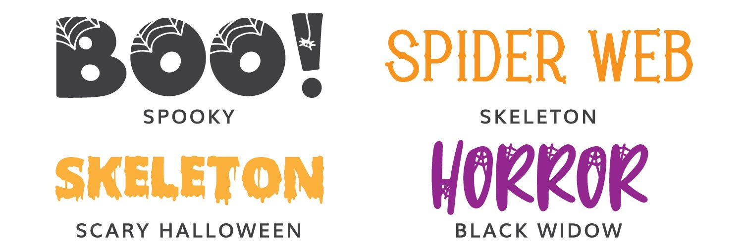 Fourth four Halloween fonts: Spooky, Skeleton, Scary Halloween, Black Widow