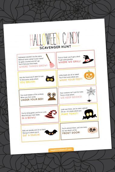 Halloween scavenger hunt on a spider web background