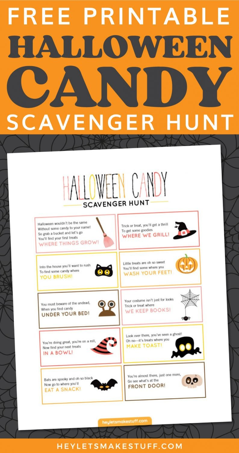 Halloween Candy Scavenger Hunt pin image