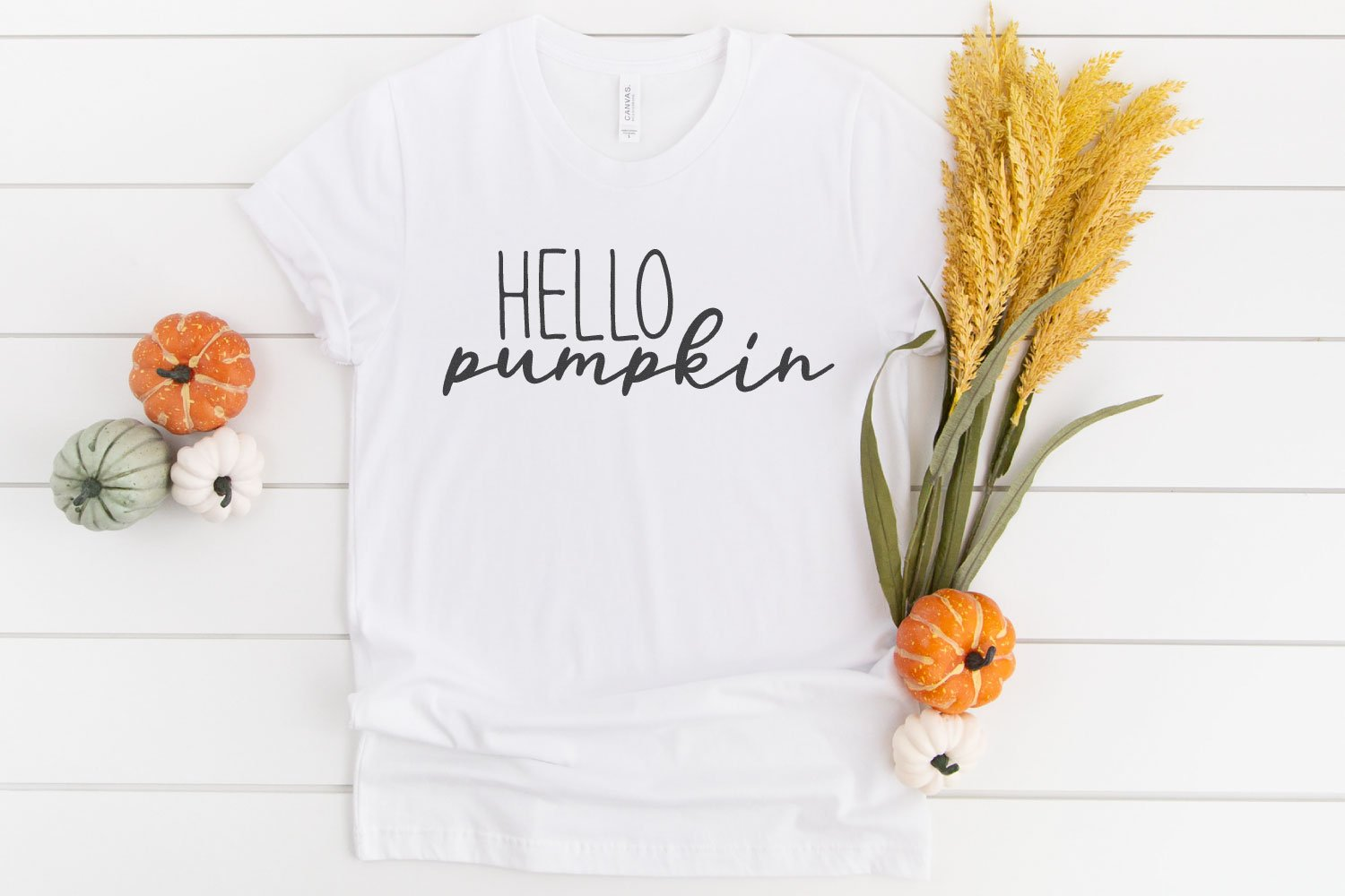 Hello pumpkin SVG on white t-shirt with pumpkins.