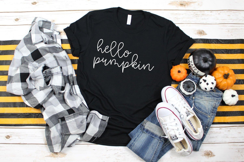 Hello Pumpkin t-shirt using One Wish font.