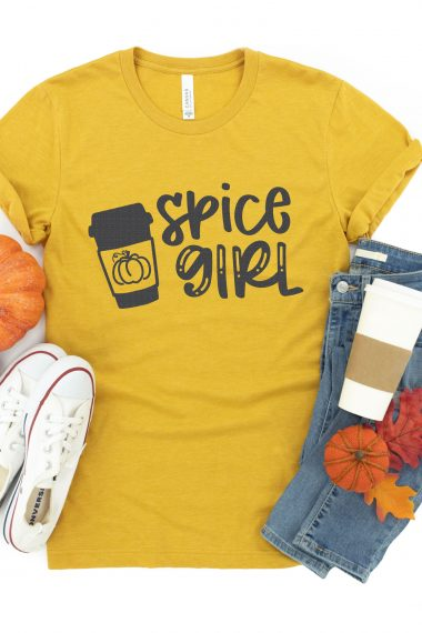 pumpkin spice girl SVG file on shirt