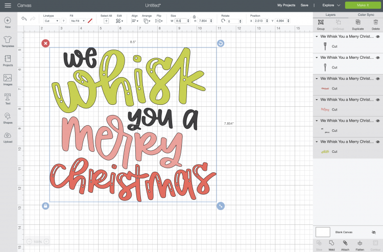 We Whisk You a Merry Christmas file in Design Space