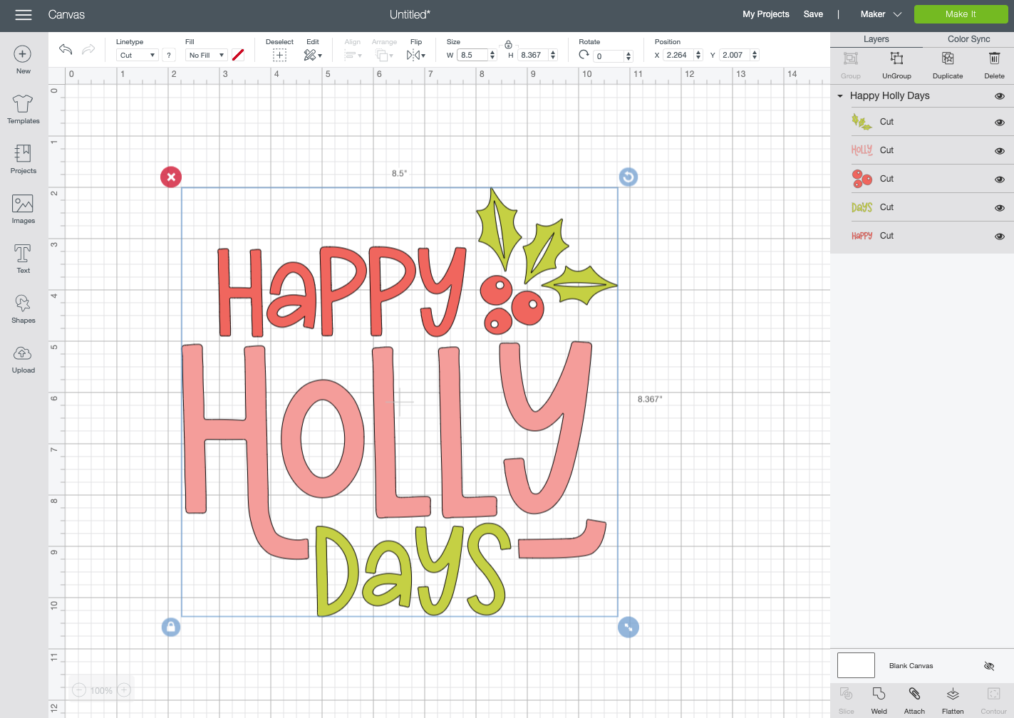 Resized image in Cricut Design Space.