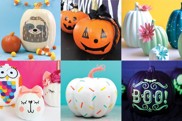 no-carve Cricut pumpkin ideas photo collage