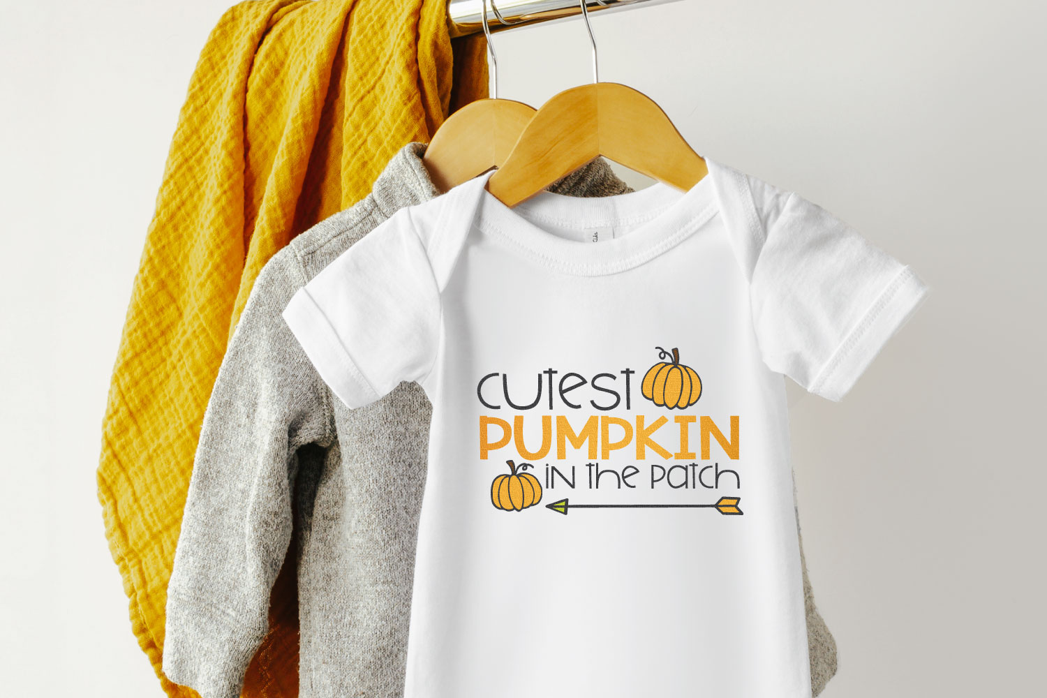pumpkin patch SVG on baby onesie