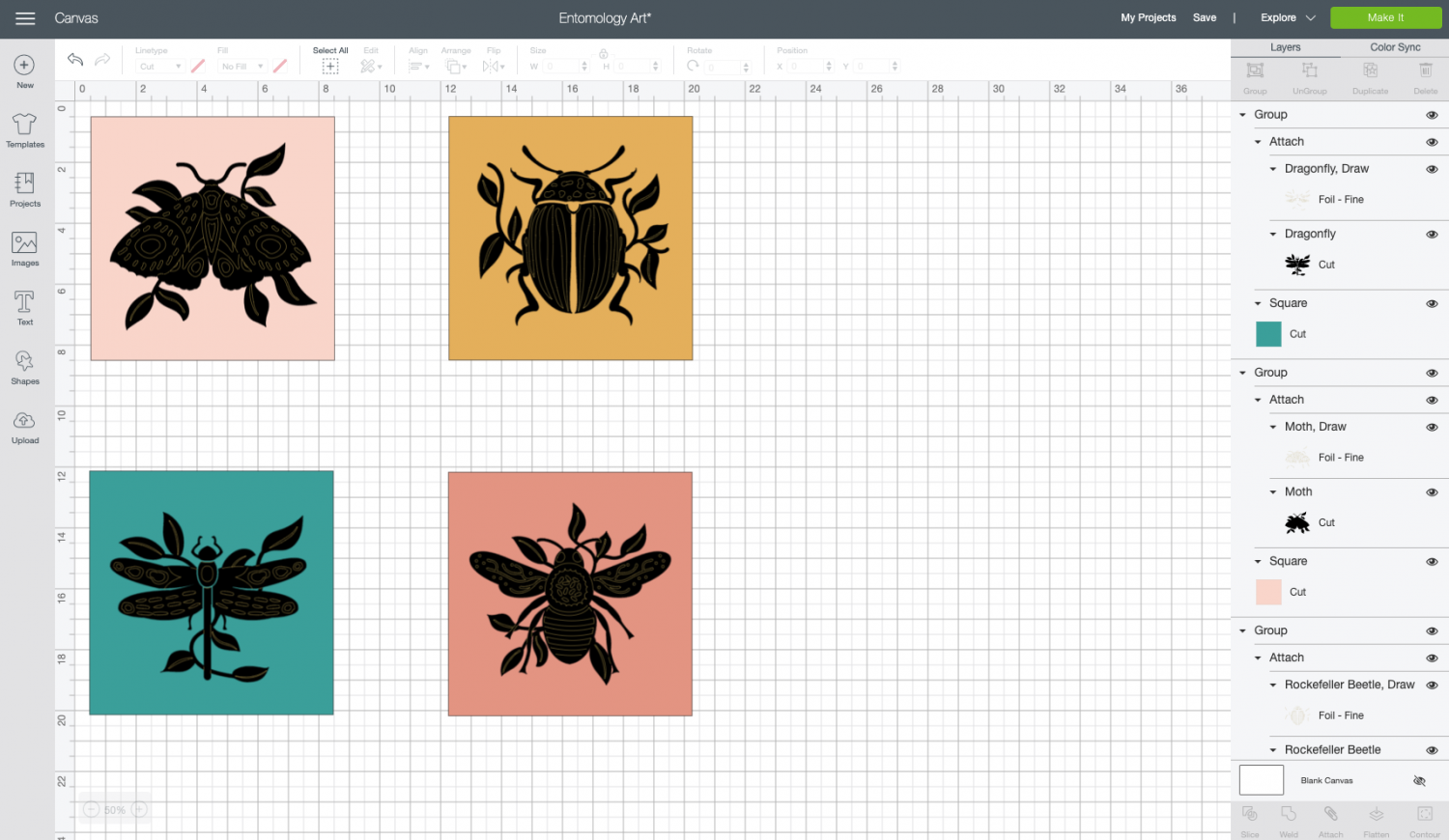 Four entomological files in Cricut Design Space