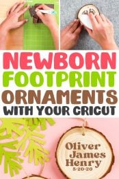 Use your Cricut Explore, Cricut Maker, or Cricut Joy to easily cut your newborn's footprints out of iron on vinyl (HTV) and make sweet keepsake footprint ornaments.