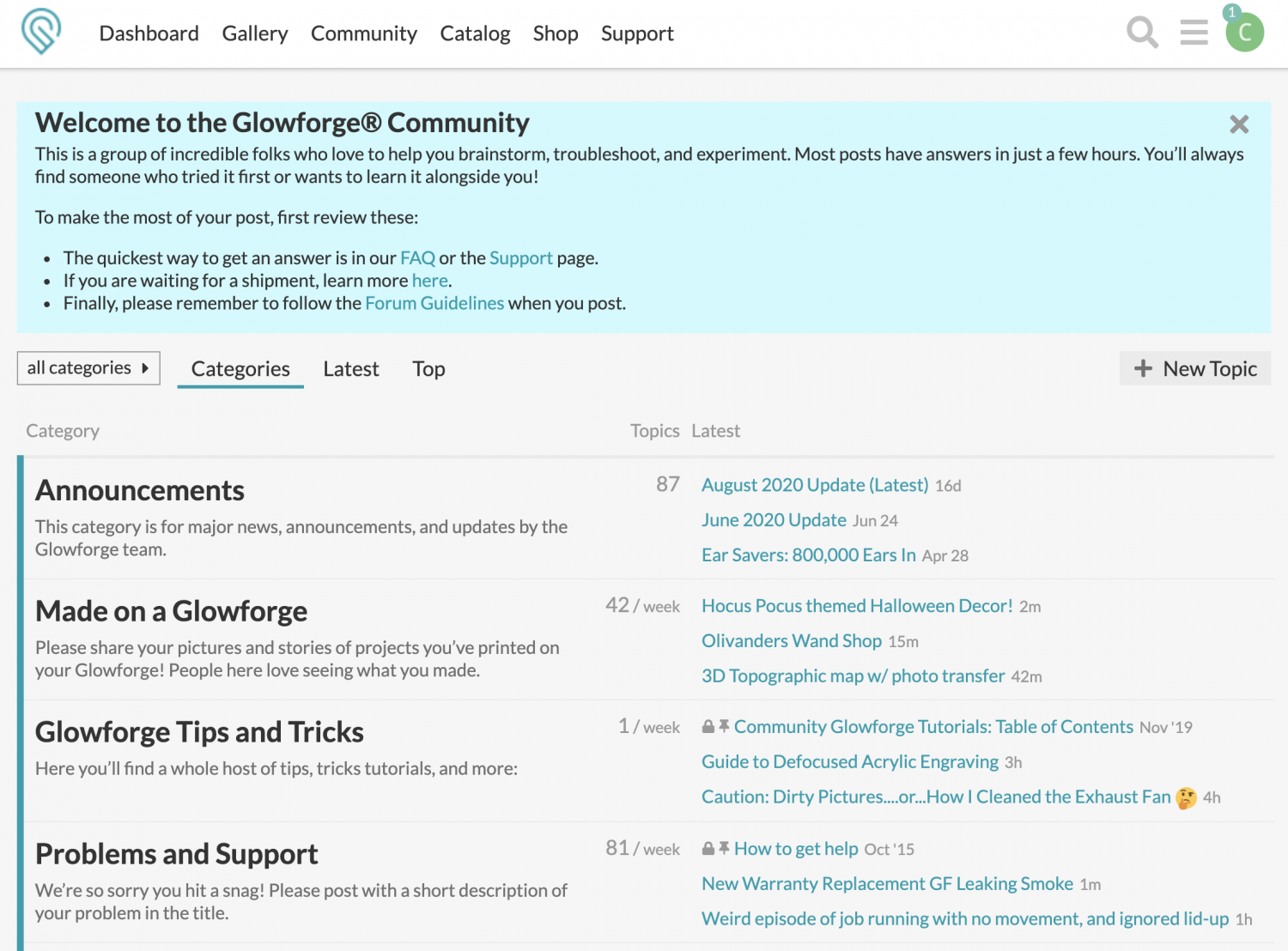 Screenshot of Glowforge community