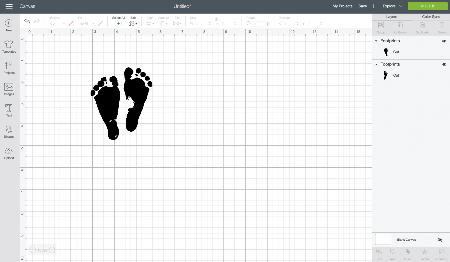 Cricut Design Space: Nest the two footprint images together.