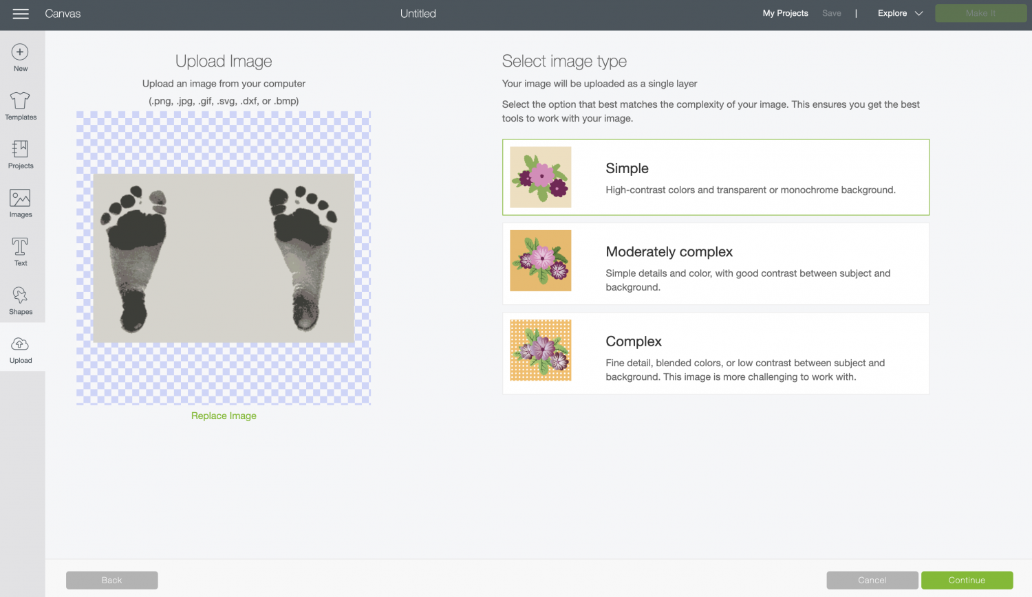 Upload the footprint image to Cricut Design Space.