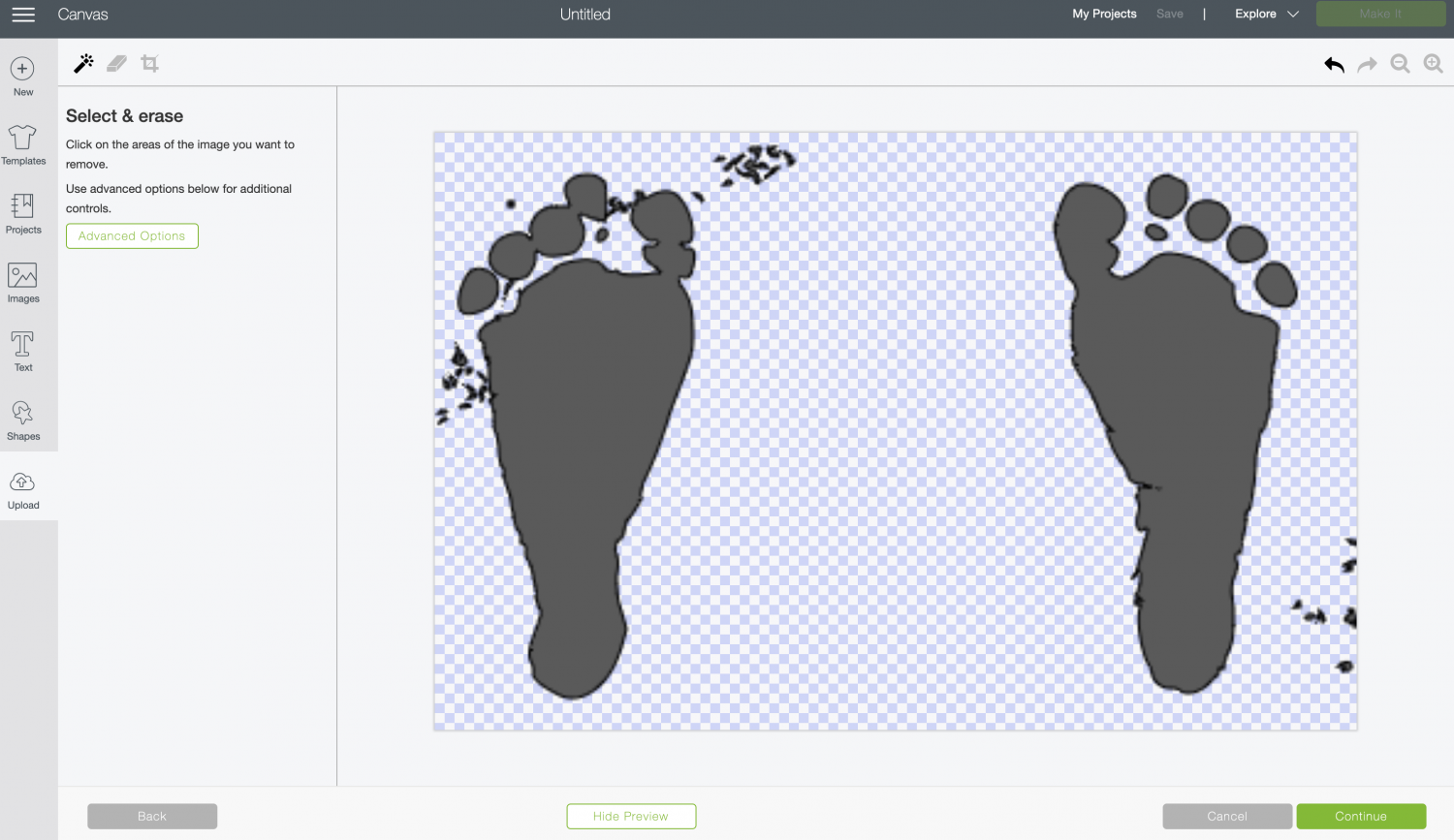 Cricut Design Space: using the Preview button to see what else to erase.