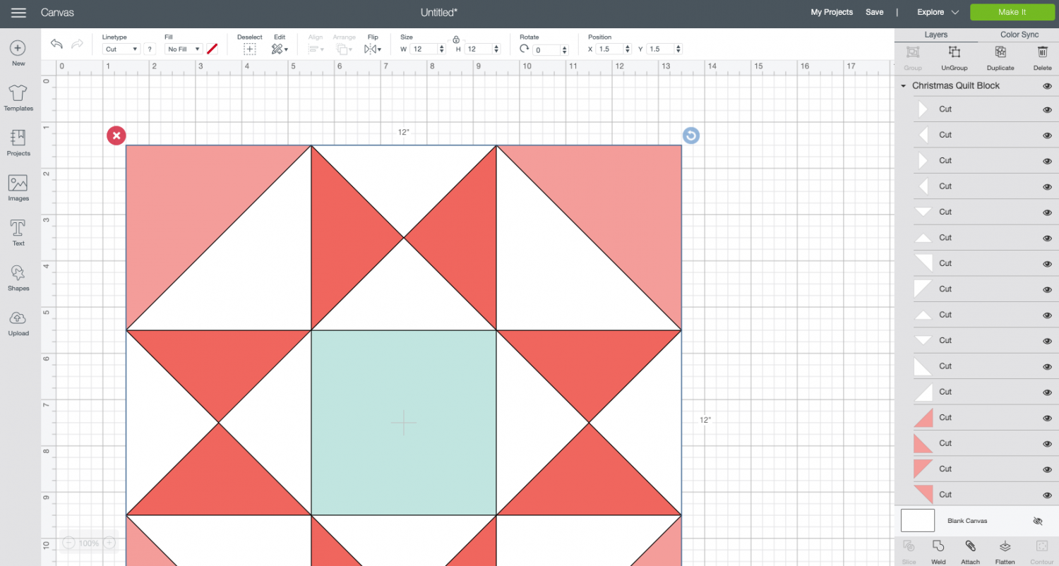 Cricut Design Space: Upload the Christmas paper quilt block file to your canvas