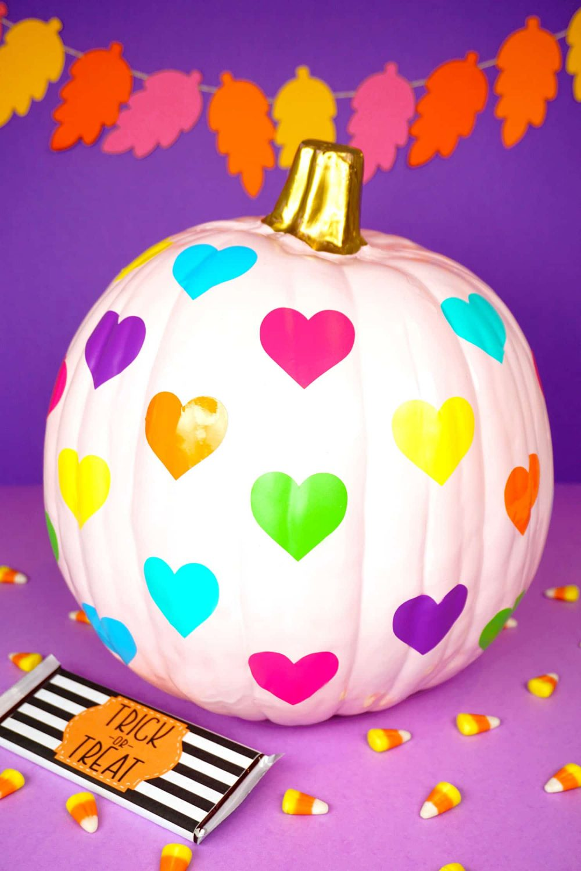 Rainbow Heart Pumpkin