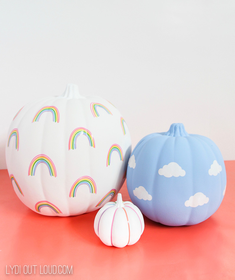 rainbow and clouds on pumpkins