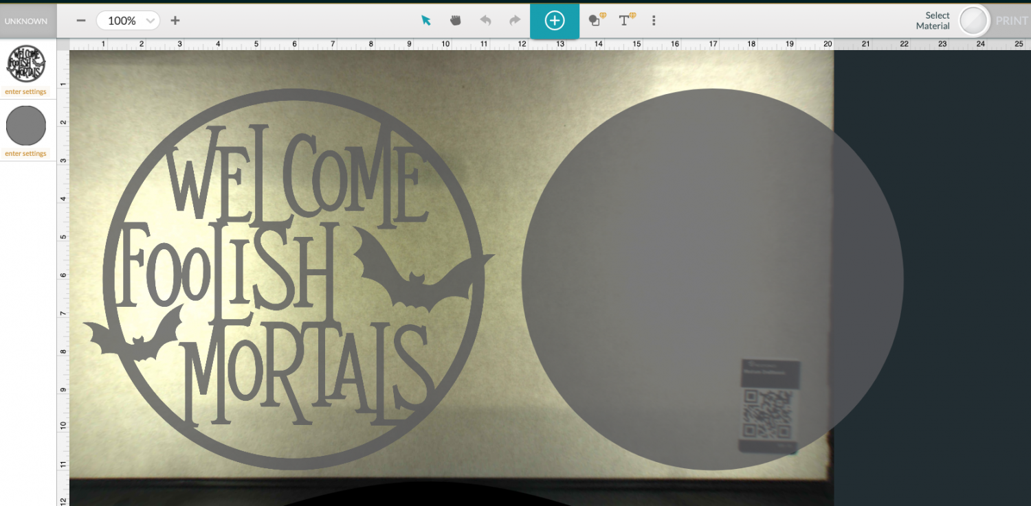 Screenshot of Glowforge app with SVG uploaded