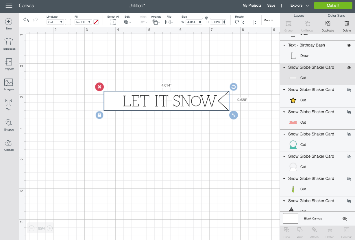 Cricut Design Space: showing LET IT SNOW attached to the white flag layer.