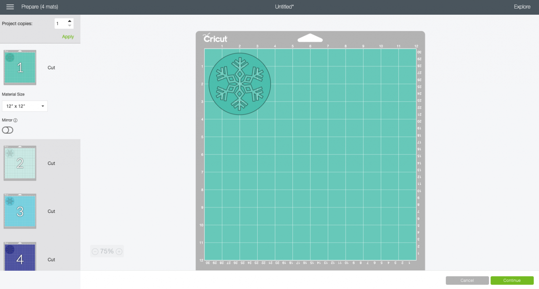 Cricut Design Space: coasters on separate mats in Prepare Screen.