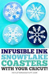Infusible Ink Snowflake Christmas Coasters pin image