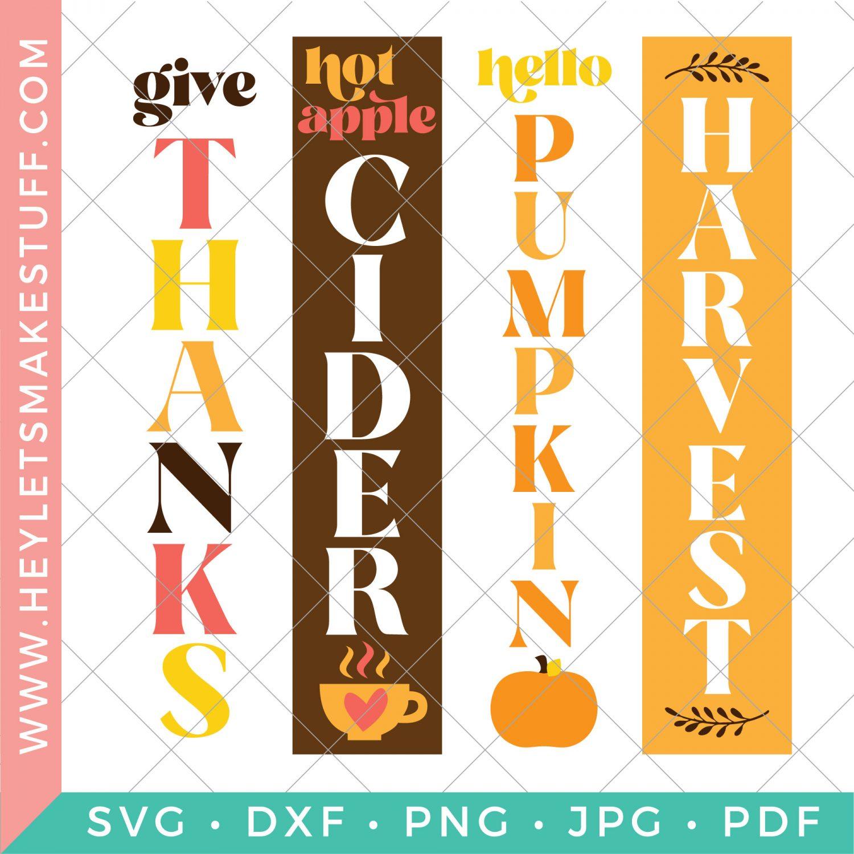 Four vertical SVG files to make a DIY Fall porch sign