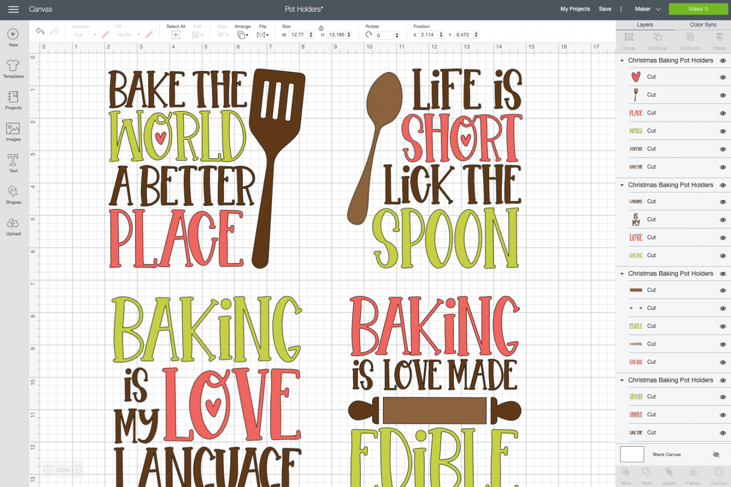 Cricut Design Space: Images ungrouped